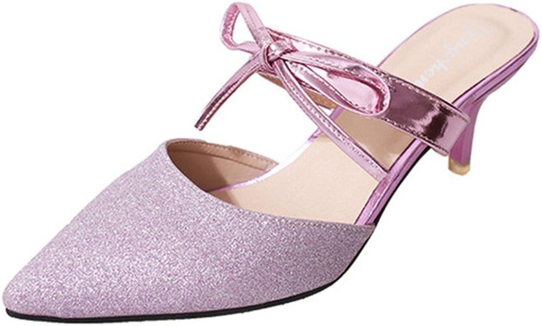 PRETTYHOMEL Women's Pointy Toe High Heel Mules Slip on Clogs Stiletto Slide Sandals shoes