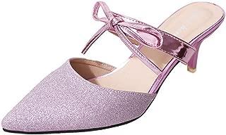 zaragfushfd Women Heel Pointed Toe Mule Sandals Slide Dress Pump Shoes