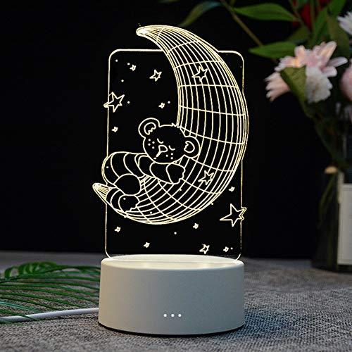 ZHANGXJ LEDLuces de Noche Niños Decoración Tabla Lámpara de Escritorio Lámpara 3D Lámpara de espejismo,para Niños, Navidad, Halloween, Cumpleaños niño (Size : Moon Bear)