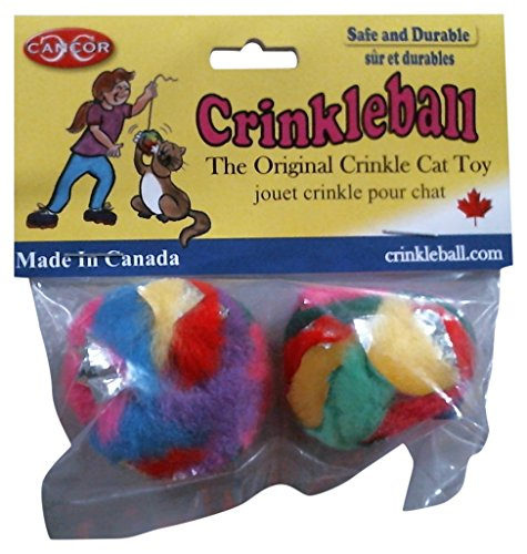 Cancor Innovations Mini Crinkle Ball Cat Toy (2...
