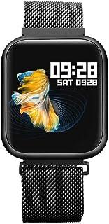 Zomeber Rastreador de Ejercicios Relojes Inteligentes P80 1.3 Pulgadas de Pantalla IPS Color SmartWatch IP68 a Prueba de Agua, Metal Correa de Reloj (Negro)