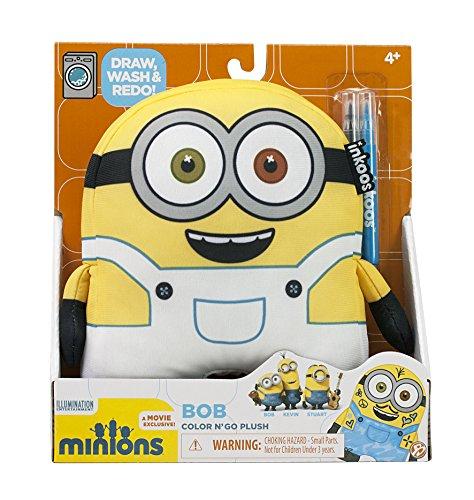 Minions - Bob - 18 cm - Inkoos Color N'Glow - Set 3pz Peluche da colorare e 2 Pennarelli Lavabile in Lavatrice