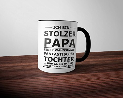 creativgravur® FUN Tasse STOLZER PAPA - Two Tone Black and White