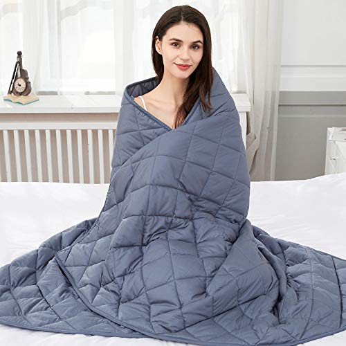 jaymag Gewichtsdecke 150x200 8kg Therapiedecke für Erwachsene Beschwerte Decke Anti Stress Schwere Decke für Angst und Schlafstörungen, 100% Baumwolle, Blau