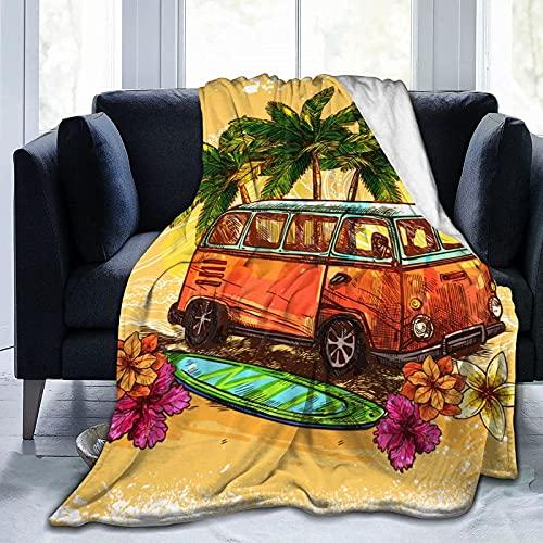 VJSDIUD Flanel Blankets Soft Fuzzy Throw Blankets para niños, niñas, niños, niñas, Manta Decorativa, Retro, autobús, Tabla de Surf, Flores, Mantas de Palma, Manta Ultra Suave para Silla, CAM