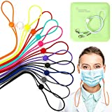 12 Pack - Face Mask Lanyards,Fashion Adjustable Length Mask Lanyard Mask Lanyard Strap for Child and Adults,Comfortable Around The Neck Rest Ear Saver (12PC,Multicolor) Contains a Mask Storage Case.