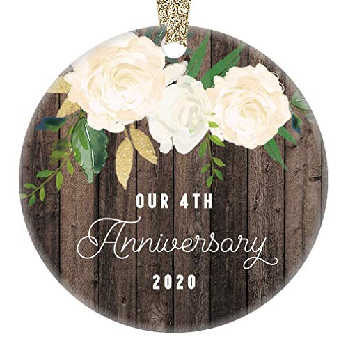 Lplpol Our 4th Anniversary Ornament 2020 Fourth Year Married Wedding Anniversaries Marriage Couple Him Her Keepsake, 3 Inch Round Ceramic Christmas Tree Hanging Ornament, RE1902