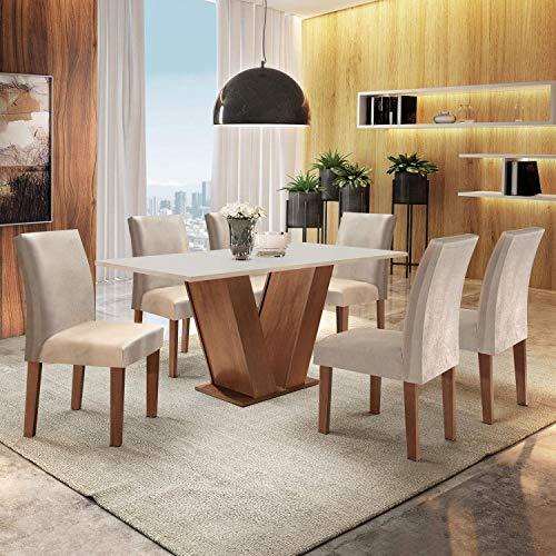 Conjunto Sala de Jantar Mesa Tampo MDF 6 Cadeiras Espanha Siena Móveis Chocolate/Off White