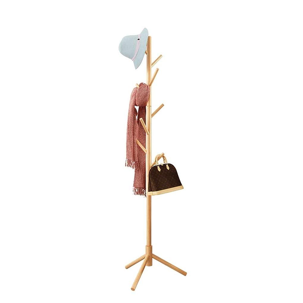 ブリード電化する翻訳Jia He コートラック コートラック、床置き木製ハンガー寝室ホームシンプルな垂直服帽子収納ラック、50.5X50.5X173cm @@ (Color : Wood color)