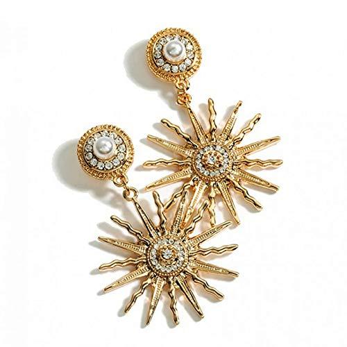 CHENYUXIA Pendientes de mujer con perlas de diamante, diseño de sol y flor.