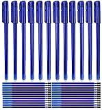 (42 Pezzi) Kit 12 Penne Cancellabili Blu + 30pz Ricariche per Penne Punta Stabile 0.5 mm...