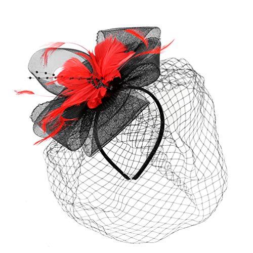 VALICLUD Plumas de Malla de Flores Fascinadores Horquilla para Mujeres Niñas Cóctel Fiesta de Té Diadema Kentucky Derby Sombreros Velo Sombrero de Boda