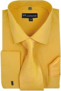 Milano Moda Mens Solid Classic Dress Shirt with Tie, Hankie & French Cuffs SG27