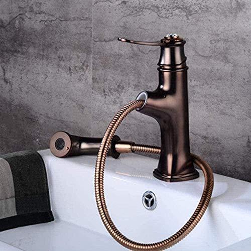 Grifos Latón Marrón Baño Extraíble Cabezal de ducha Grifo Grifos mezcladores para fregadero de agua fría/caliente