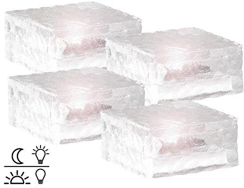 Lunartec Solar Pflastersteine: Solar-LED-Glasbaustein mit Lichtsensor 4er-Set groß (10x10cm) (LED Steine)