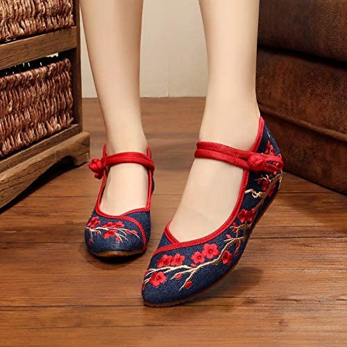 HOESCZS Talons Hauts New Pointed Plum Embroidery chaussures, Wedge chaussures, Retro Word Buckle Dance chaussures