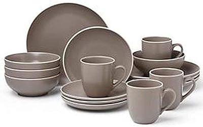 Dansk Kisco 16Pc Dinnerware Set, 21.90 LB, Taupe/Grey