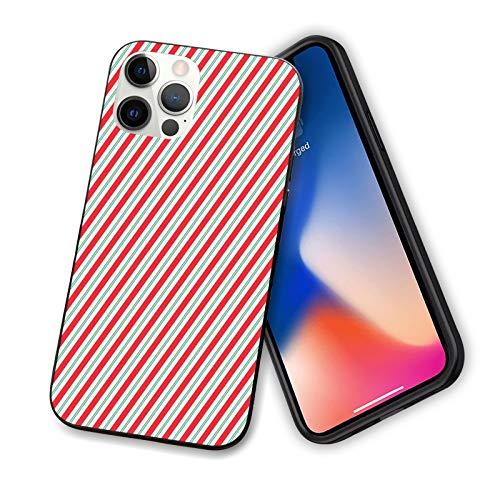 Candy Cane diseñada para iPhone 12 Pro Max, diseño tradicional de rayas bicolor y líneas de silicona a prueba de golpes con forro antiarañazos, 6.7 pulgadas, rojo, verde helecho blanco