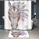 Baisheng Waterproof Mold Proof Resistant Bad Vorhang Waschbar Duschvorhang Polyester Stoff 3D Mehltau Beweis Vorhang mit Haken (Buntes ethnisches Pferd 3D-70 * 78Inch/180 * 200cm)