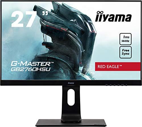iiyama G-MASTER Red Eagle GB2760HSU-B1 68.6 cm, 27 Pollici, Gaming Monitor Full-HD 144Hz, HDMI, DisplayPort, USB 2.0, 1ms Tempo di Risposta, FreeSync, Regolabile in Altezza, Pivot, Nero