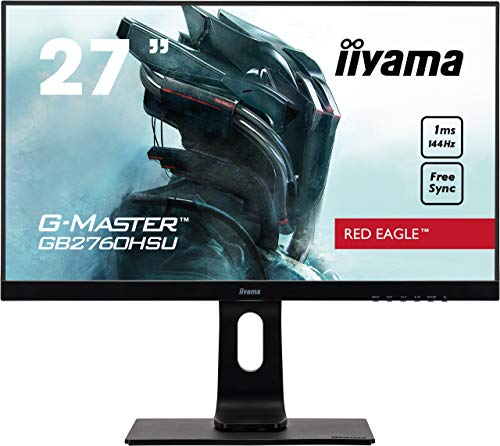 iiyama G-MASTER Red Eagle GB2760HSU-B1 68,6 cm (27 Zoll) Gaming Monitor Full-HD 144Hz (HDMI, DisplayPort, USB 2.0, 1ms Reaktionszeit, FreeSync, Höhenverstellung, Pivot) schwarz