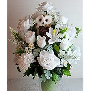 Cemetery Vase Flowers for Winter, Winter Cemetery Arrangement, Winter Cemetery Flowers