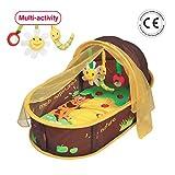 LUDI - Dodo nomade 'chocolat', dès la naissance. Lit d'appoint léger ( - de 1 kg) avec matelas épais. Tissu avec Protection UV...