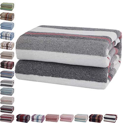 Mixibaby Tagesdecke Wohndecke Wendedecke Kuscheldeck Sofadecke Couchdecke Baumwolle, Farbe:Dunkelgrau gestreift, Maße Decke Sarah:180 cm x 220 cm
