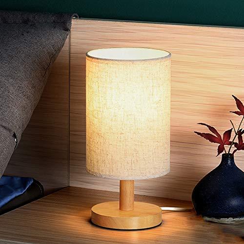 QJUZO E27 Tischlampe Stoffschirm Holz Nachttischlampe wohnzimmer kommode kleinen Schreibtischleuchte Schlafzimmer Nachtlicht Holzfuß Kinds Lampe mit Kabel und Schalter