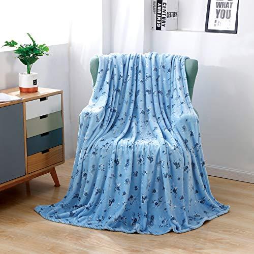 Flannel Fleece Blanket Super Soft Fluffy Throw Blanket for Sofa Armchair Couch Microfiber Lightweight Blue Flower Blankets 150*200cm