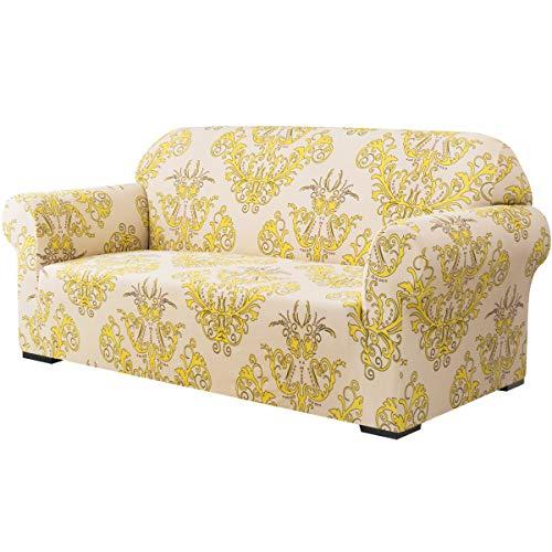 subrtex Sofabezug aus weichem Stretch-Sofa, 3er-Set, Bedruckt, waschbar, Möbelschutz, elastische Couch für Kinder/Hunde (Sofa, gelb)