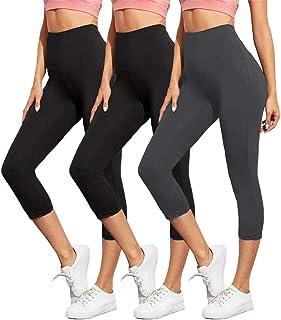 ZOOSIXX High Waisted Capri Leggings for Women - Tummy Control Soft Leggings Opaque Slim