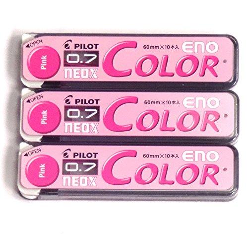 Pilot Color Mechanical Pencil Lead Eno, 0.7mm, Pink, 10 Lead ×3 Pack/total 30 Leads (Japan Import)