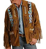 COCOBEEUSA Best Mens Western Cowboy Suede Leather Coat Native American Jacket Brown