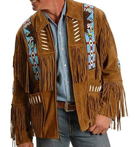 COCOBEEUSA Best Mens Western Cowboy Suede Leather Coat Native American Jacket Brown