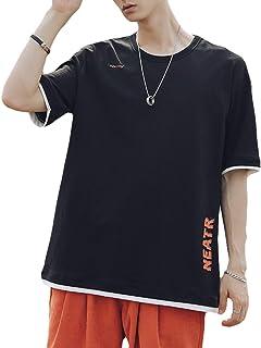 [フラップカッシュ] 【在庫限り】半袖 Tシャツ 丸首 バックプリント 重ね着風 カジュアル シンプル ファッション 夏 メンズ