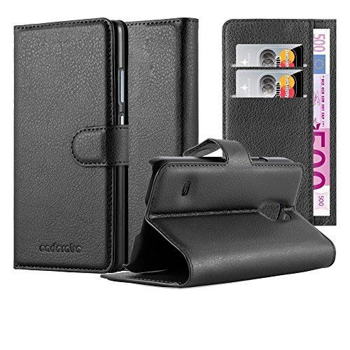 Cadorabo Hülle für Samsung Galaxy S5 Mini / S5 Mini DUOS in Phantom SCHWARZ - Handyhülle mit Magnetverschluss, Standfunktion und Kartenfach - Case Cover Schutzhülle Etui Tasche Book Klapp Style