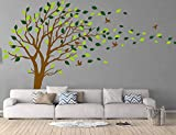 Large Tree Blowing in The Wind Tree Wall Decals Wall Sticker Vinyl Art Kids Rooms Teen Girls Boys Wallpaper Murals Sticker Wall Stickers Nursery Decor Nursery Decals (Brown and Green)