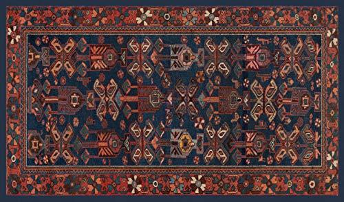 Centesimo Web Shop Tappeto Classico Riproduzione Stampato Antiscivolo Tappeto Antico Persiano Bakhtiari Iran Secolo XX Ninfee - Blu - 154x264 cm