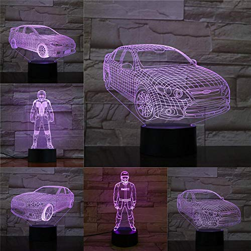 OMCR Illusion 16 Color Night Light, Bluetooth speaker base, Super car, 3D Illusion Lamp Led Night Light USB Powered 16 Colours Flashing Touch Switch Bedroom Decoration Lighting for Kids Christmas Gift