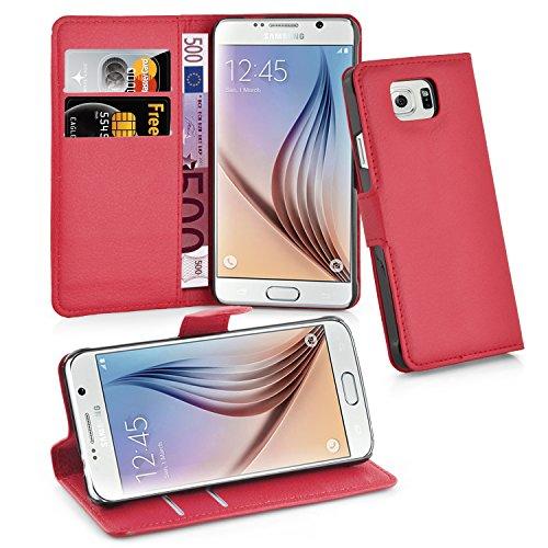 Cadorabo Funda Libro para Samsung Galaxy S6 en Rojo CARMÍN - Cubierta Proteccíon con Cierre Magnético, Tarjetero y Función de Suporte - Etui Case Cover Carcasa