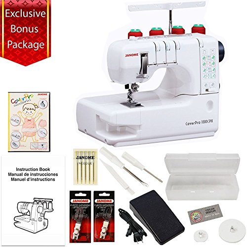 Janome Cover Pro 1000CPX Cover Stitch Machine with 3-Piece Accessories