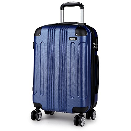 Kono 20 Inch Carry On Suitcase Hard Shell ABS Hand Luggage with 4 Spinner Wheels (Navy 20')