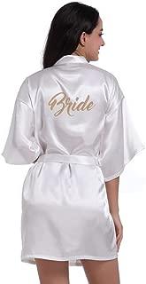 Ausexy Women's Pure Short Kimono Silk Robe Sleepwear Bathrobe Gown For Bride Wedding Party