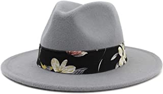 Fedoras for Women and Men Vintage Wide Brim Fedora Hat Floppy Cloche Men Gangster Hat` TuanTuan (Color : Gray, Size : 56-58)