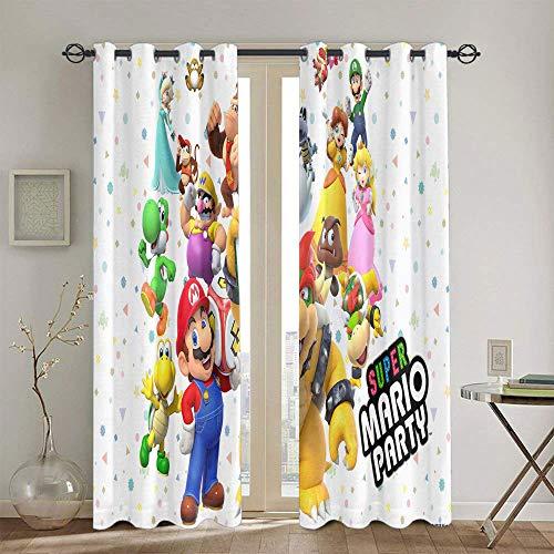 Cortinas de oscurecimiento con aislamiento térmico Super Mario Odyssey para habitaciones de niños, cortina de ventana de 139,7 x 160 cm
