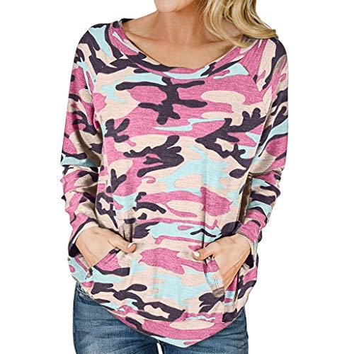 WARMWORD Camiseta Mujer Moda Manga Larga Casual Camuflaje Impresión Camiseta Sudaderas Invierno...