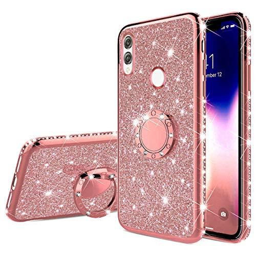Jinghuash Kompatibel mit Huawei Honor 8X Glitzer Handyhülle Kristall Bling Glänzend Strass Diamant Hülle mit 360 Grad Ring Ständer Ultradünn Stoßfest TPU Silikon Tasche Schutzhülle-Roségold