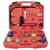 COKCOL 14PCS Universal Radiator Pressure Tester Kit, Automotive Vacuum Type Cooling System Leak Test Kit