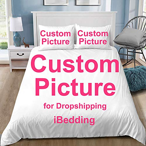 PJCNEW Personalised Photo Double Bedding Duvet Set, Ultra Soft Hypoallergenic Microfiber Quilt Cover Set 200X200Cm